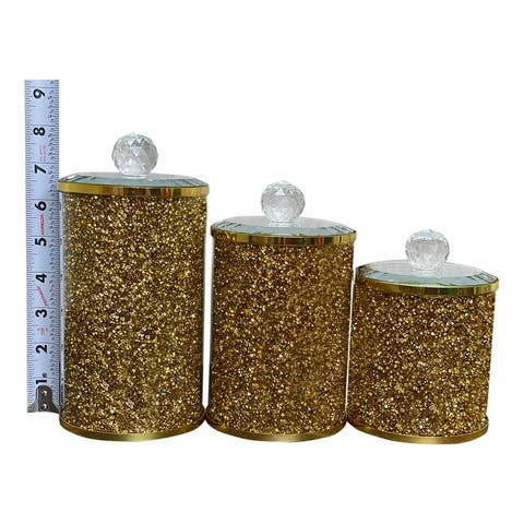 "Ambrose Exquisite Three Glass Canister Set in Gift Box - L: 4"" D x 8"" H; M: 4"" D x 7"" H; S: 4"" D x 5.5"" H"