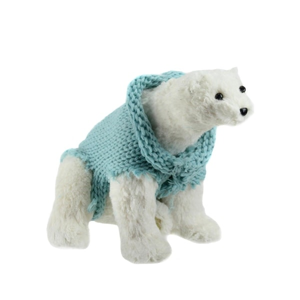 """10.25"""" Retro Christmas White Standing Polar Bear in Mint Green Knit Sweater Christmas Decoration"""