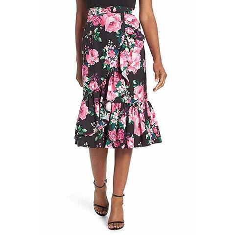 Eliza J Floral Print Ruffle Women Pencil Midi Skirt, Black, 6
