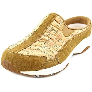Easy Spirit Travel Time Women Round Toe Suede Brown Mules