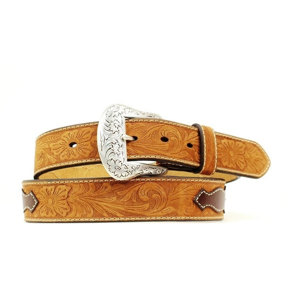 Nocona Western Belt Mens Ribbon Scallop Inlay Studs Brown