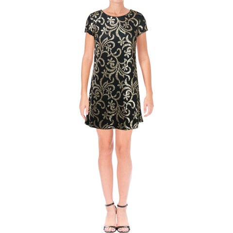 Jessica Simpson Womens Cocktail Dress Mesh Sequined