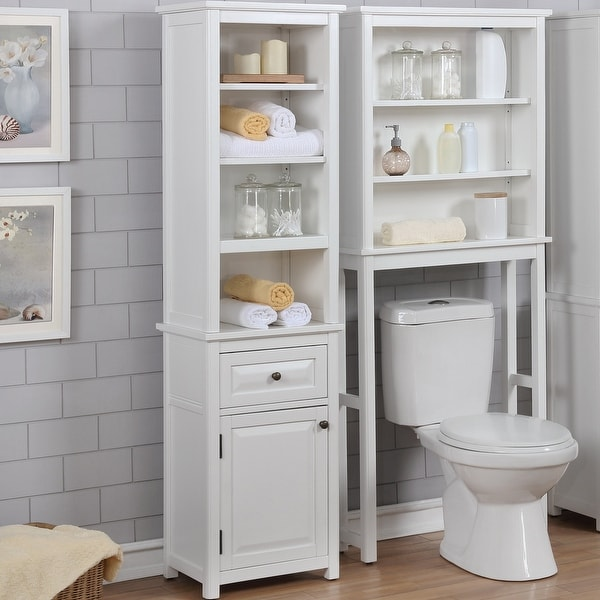 Porch & Den Everest Bathroom Storage Tower with Open Upper Shelves, Lower Cabinet and Drawer