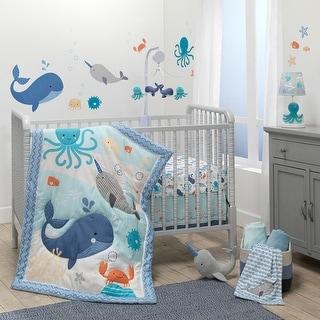 Bedtime Originals Whales Tales 3-Piece Blue Ocean/Nautical Baby Crib Bedding Set