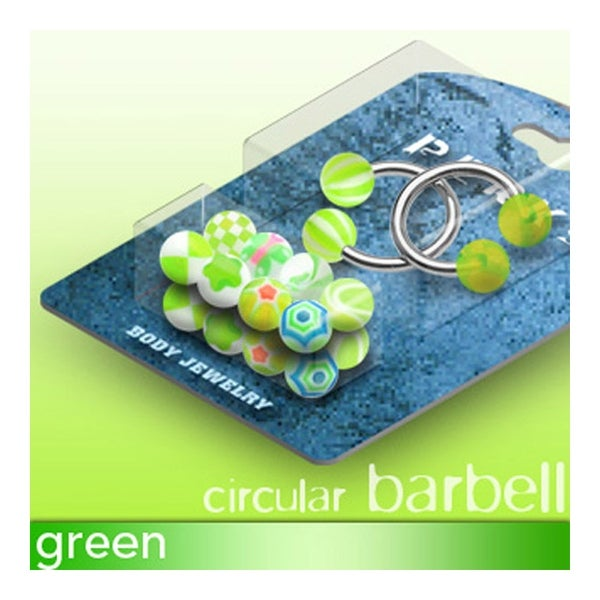 "Two Circular Barbell and 10 pairs of UV Green Balls - 14GA 7/16"" Long (5mm Ball)"