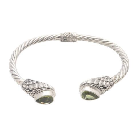 NOVICA Fancy Feathers, Peridot cuff bracelet