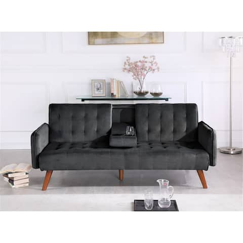 US Pride Tufted Convertible Velvet Sofa Bed with Cup Holder