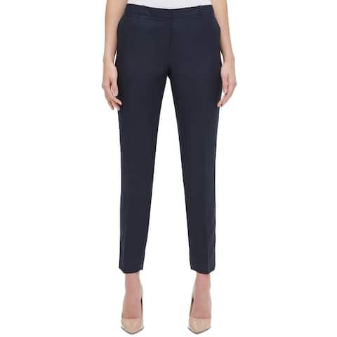 Tommy Hilfiger Womens Pants Navy Blue Size 4 Slim Ankle Leg Linen