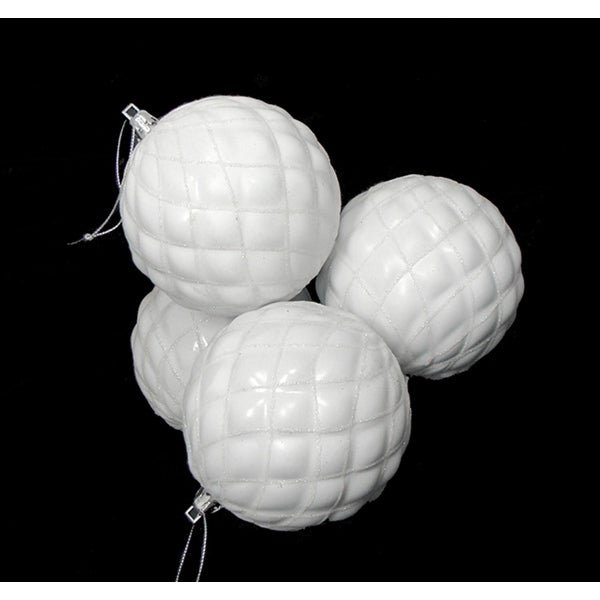 "4ct Shiny Winter White Diamond Shatterproof Christmas Ball Ornaments 3.75"""