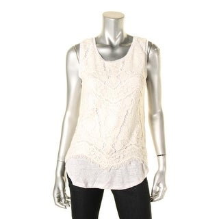 Generation Love Womens Celine Casual Top Mixed Media Layered