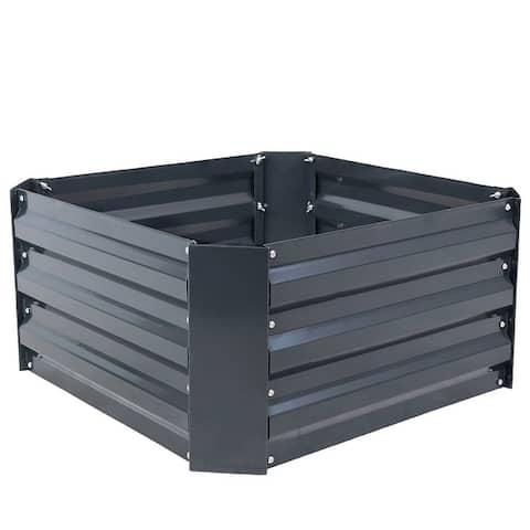 "Sunnydaze Galvanized Steel Raised Bed - 24-Inch Square - 24"" x 24"" x 11.75"""