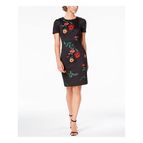 CALVIN KLEIN Womens Black Floral Print Scuba Short Sleeve Jewel Neck Above The Knee Sheath Cocktail Dress Petites Size: 0