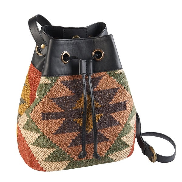 862e3073c346 Shop Catalog Classics Women s Kilim Drawstring Bucket Bag - Wool   Leather  Hobo Style Purse Handbag - One size - On Sale - Free Shipping On Orders  Over  45 ...
