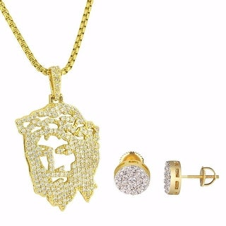 """Ghost Jesus 14k Gold Plated Pendant Earrings Studs 9mm 24"""" Free Chain Hip Hop"""
