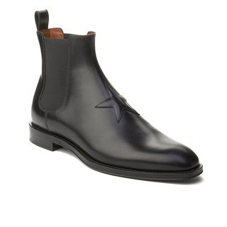 Givenchy Men's Leather Star Patch Chelsea Boot Shoes Black