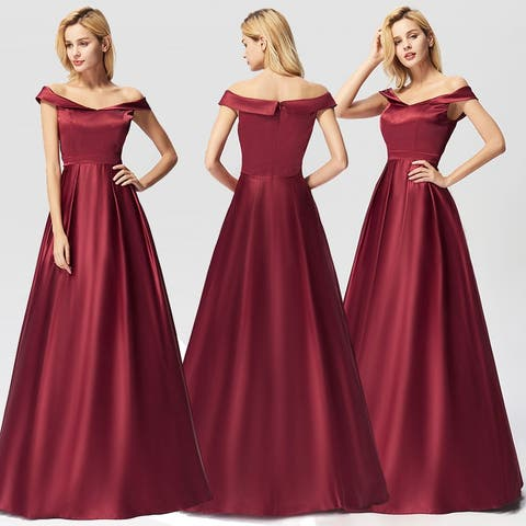 Ever-Pretty Womens Burgundy Satin Long Formal Evening Dresses for Women 07742