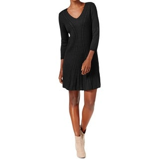 NY Collection Womens Petites Sweaterdress Cable Knit Ribbed Trim