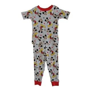 Disney Little Boys Grey Mickey Mouse Cotton Short Sleeve 2 Pc Pajama