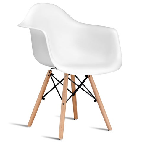 Gymax 1 PC Mid Century Modern Molded Plastic Dining Arm Side Chair Wood Legs White
