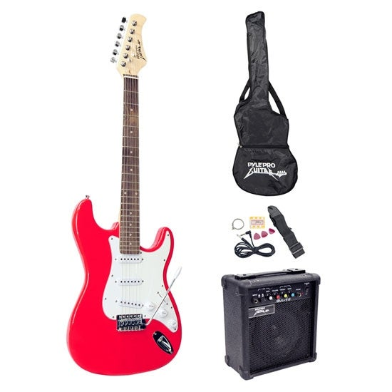 Beginners Electric Guitar Kit, Includes Amplifier & Accessories (Red)