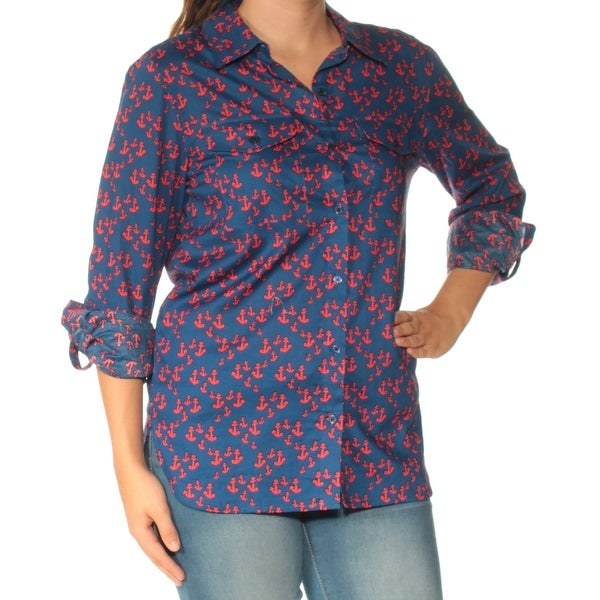 5450abaf Shop TOMMY HILFIGER Womens Red Printed Cuffed Collared Top Size: XL - Free  Shipping On Orders Over $45 - Overstock - 27890406