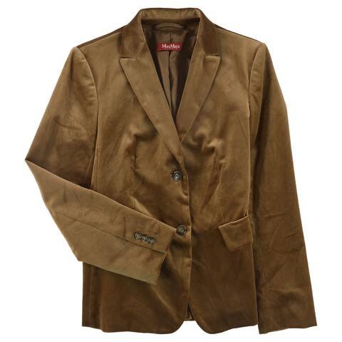 MaxMara Womens Congo Two Button Blazer Jacket, Brown, 6