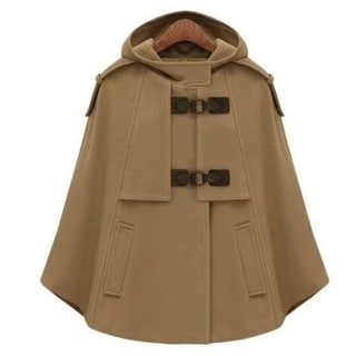 Link to Women Wool Cape Hooded Double Breasted Coat Similar Items in Women's Outerwear