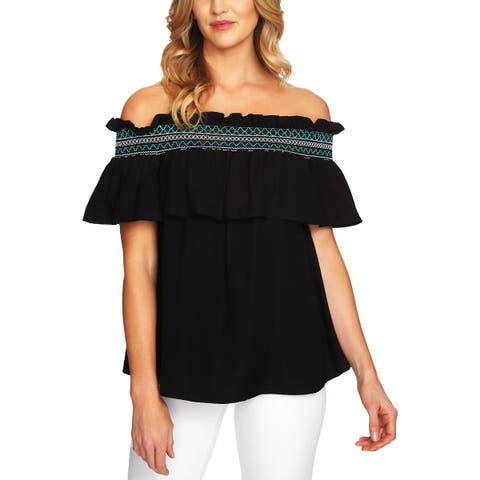 CeCe Womens Pullover Top Off-The-Shoulder Ruffled
