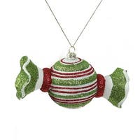 "5"" Merry & Bright Green  Red and White Glitter Striped Shatterproof Christmas Candy Ornament"
