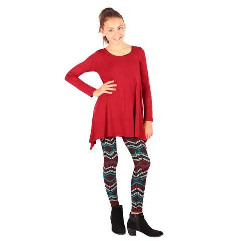 Lori&Jane Girls Wine Teal Wine Tunic Dress Leggings Set