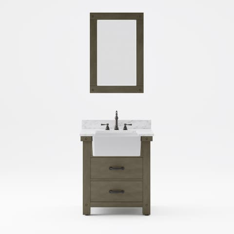 Paisley Carrara White Marble Countertop Vanity with Mirror