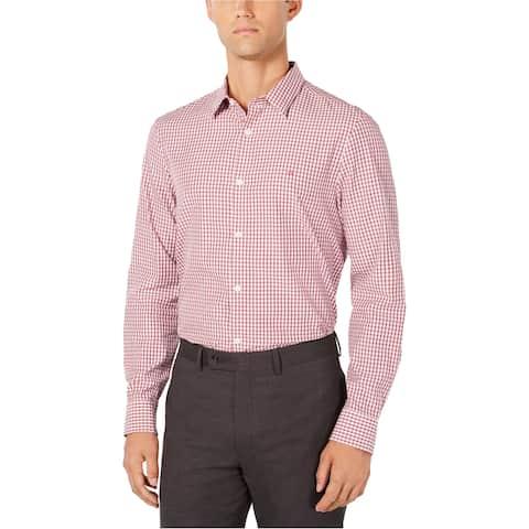 Calvin Klein Mens Cotton Cashmere Button Up Shirt, Red, Medium