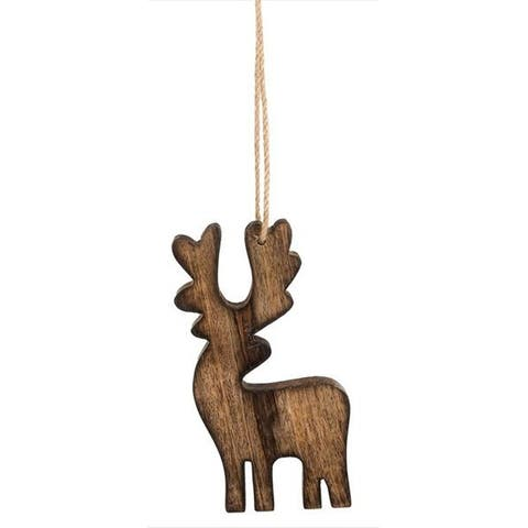 Rustic Carved Deer Christmas Holiday Ornament Wooden Dimensional