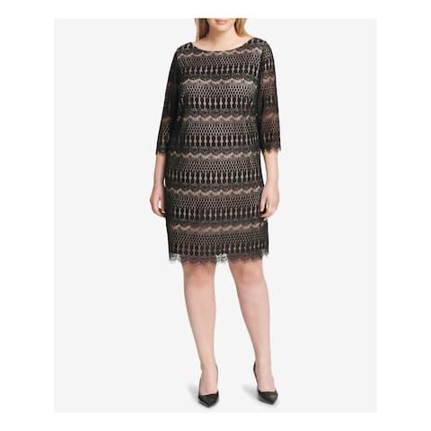 JESSICA HOWARD Black 3/4 Sleeve Above The Knee Shift Dress Size 22W
