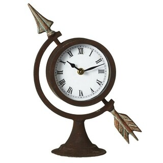 Set of 2 Black and White Distressed Arrow Desk Clock with Rusting Finish 11""