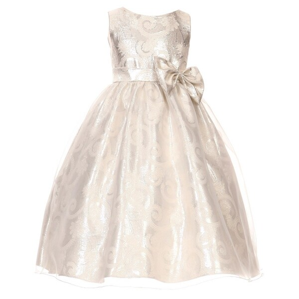 a18a3960527 Shop Kids Dream Big Girls Silver Sequin Bodice Floral Overlaid Flower Girl  Dress 8-14 - Free Shipping On Orders Over  45 - Overstock - 18528196