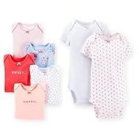 Carter's Baby Girls' 7 Pack Short Sleeve Bodysuits - 9 Months - Multi