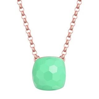 Vedantti Magic Honeycomb Cut Green Chrysoprase Divine Gemstone Solitaire Necklace