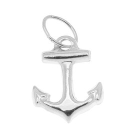 Sterling Silver Lightweight Nautical Anchor Charm 11mm (1)
