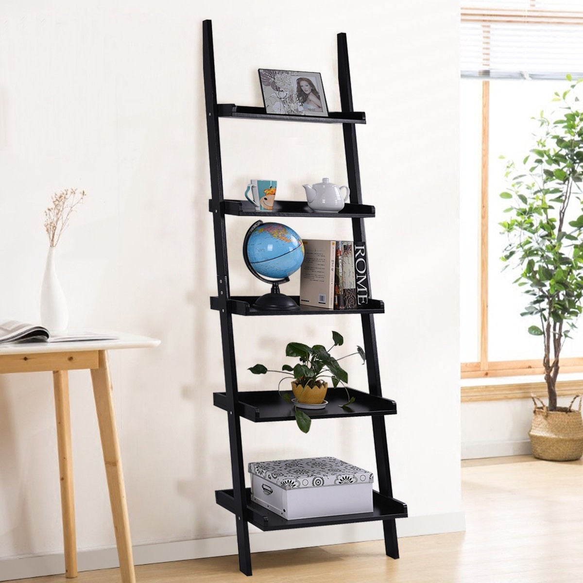 save off 33560 97de5 Costway Versatile Black 5-Tier Bookshelf Leaning Wall Shelf Ladder Bookcase  Storage Display Furni