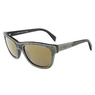 Diesel DL0111/S 98G Camoflague Green/Blue Denim Wayfarer sunglasses - camouflage green/blue denim - 52-18-140