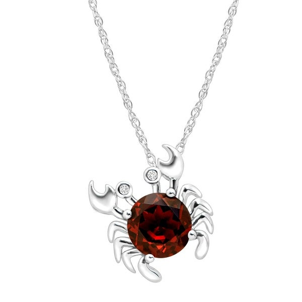 2 1/3 ct Natural Garnet Crab Pendant with Diamonds in Sterling Silver - Red