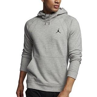 Nike Mens Wings Fleece Po, Dk Grey Heather/Black, L