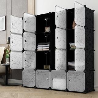 LANGRIA DIY Portable Closet Wardrobe Organizer Storage System,Black and white