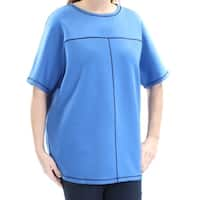 ANNE KLEIN Womens Blue Short Sleeve Jewel Neck Top  Size: L