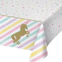 """Club Pack of 6 Brown and White Unicorn Star Printed Plastic Tablecover 102"""""""