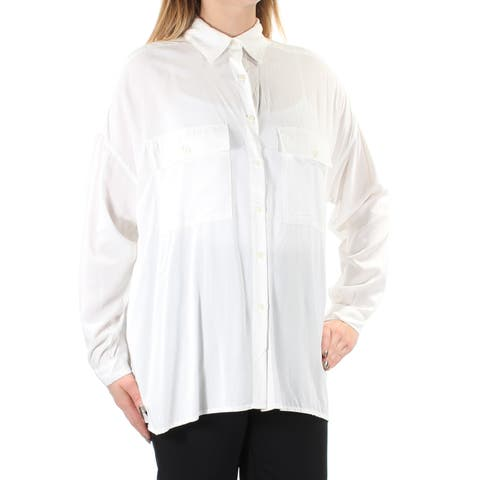 MAX STUDIO Womens Ivory Sheer Cuffed Collared Button Up Wear To Work Top Size: L
