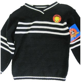 Warner Bros Little Girls Black White Striped Tweety Applique Knit Sweater 4-6X