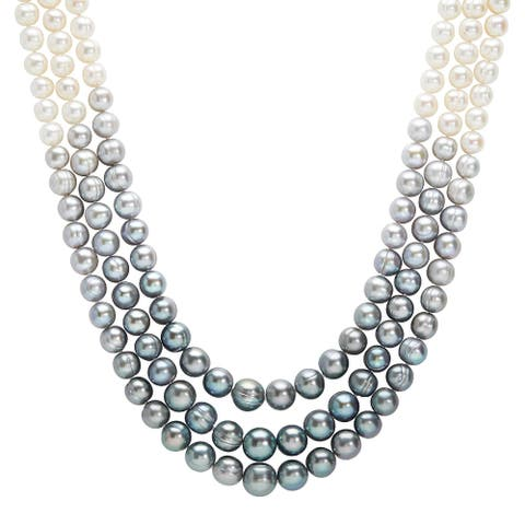 """Honora 7-11 mm Grey & White Pearl Ombré 3-Strand Necklace in Sterling Silver, 18"""""""