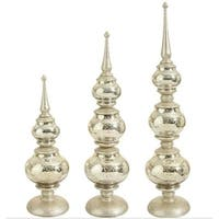 Set of 3 Silent Luxury Pre-Lit Champagne Gold Christmas Table Top Finials w/ Glitter Base